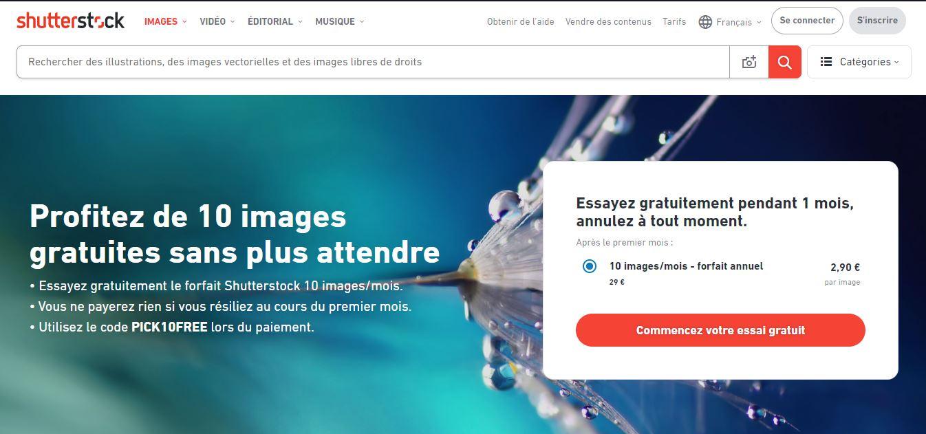 Page web Shutterstock